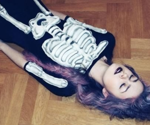 girl, hair, and skeleton image