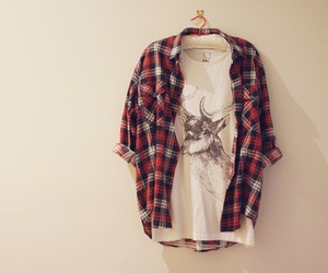 flanel and white deer t shirt image