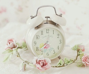 clock, pink, and flowers image