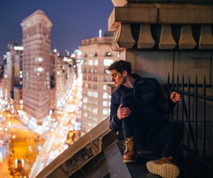 city, lights, and guy image