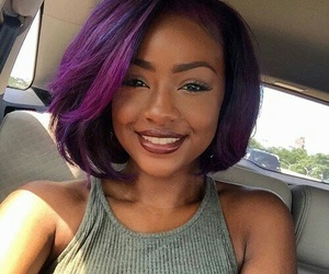 hair, purple, and justine skye image