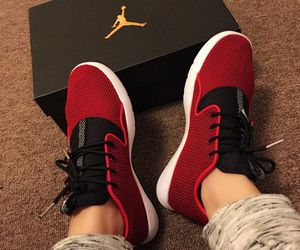 gold, jordans, and red image