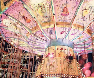 pink, carousel, and light image