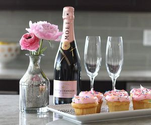 cupcake, champagne, and pink image