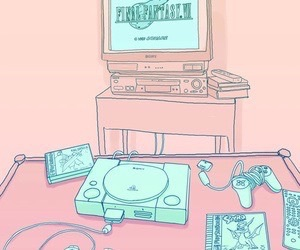final fantasy, pink, and teal image