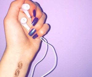 iridescent, nails, and earphones image