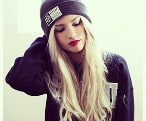 beanie, red lips, and blonde image