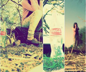 coca cola, girl, and forest image