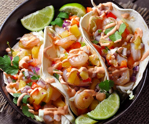 tacos, pineapple, and shrimp image