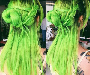 green and hairstyle image
