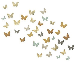 butterflies, gold, and overlays image