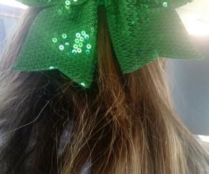bow, green, and cheerleader green bow image