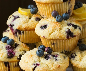 blueberry, food, and muffin image