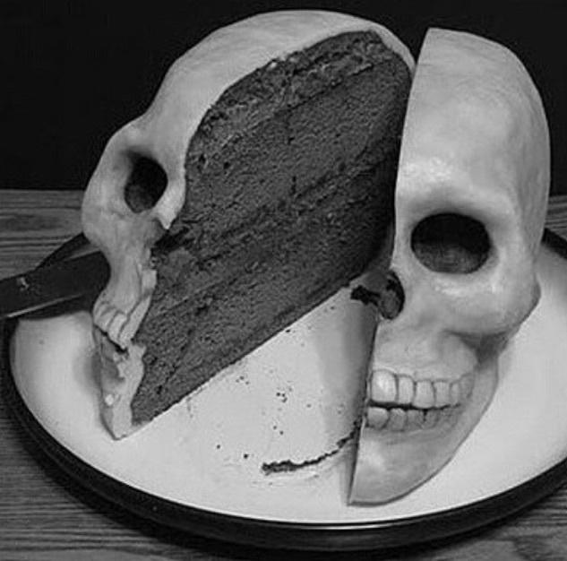 cake, skull, and food image