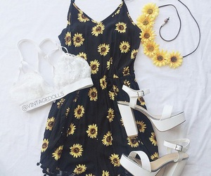 outfit, flowers, and clothes image