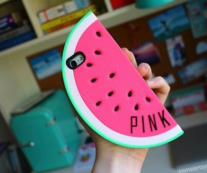 pink, watermelon, and iphone image