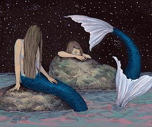 mermaid, art, and fairytale image
