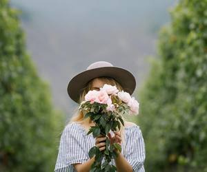 flowers, hat, and rose image