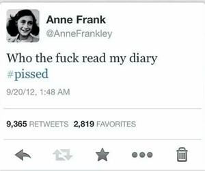 anne frank, pissed, and diary image
