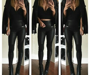 black, leather jacket, and outfits image