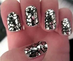 black, nail art, and silver image