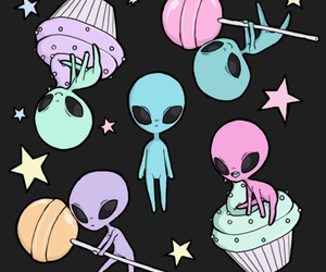 alien, cupcake, and lollypop image