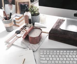 desk, white, and mac image