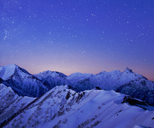 landscape, mountains, and stars image