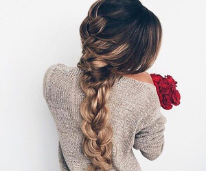 beauty, red, and braid image