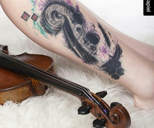 black and white, tatoo, and color explosion image