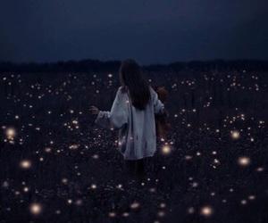 girl, light, and night image
