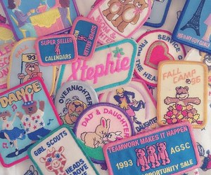 patches, pink, and vintage image