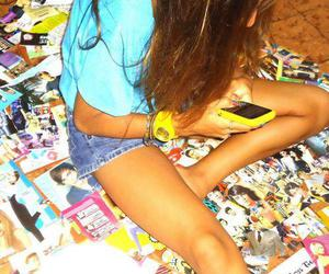 girl, magazines, and yellow image
