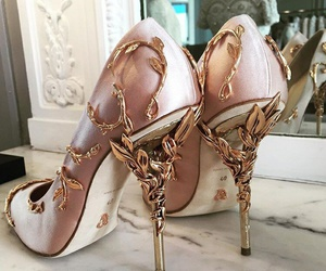 fashion, rose gold, and heels image