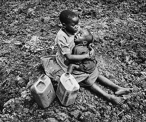 black and white, children, and poverty image