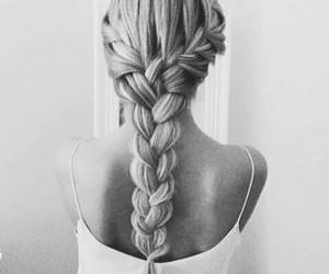 beauty, black and white, and braid image