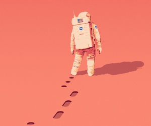 astronaut, space, and planet image