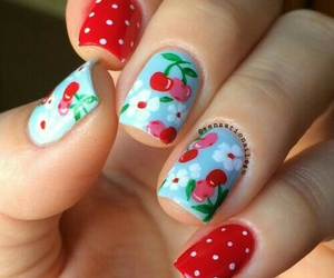 nail art, red, and cherries image