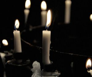 candle, light, and black image