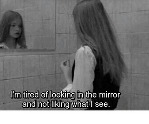 sad, quotes, and mirror image
