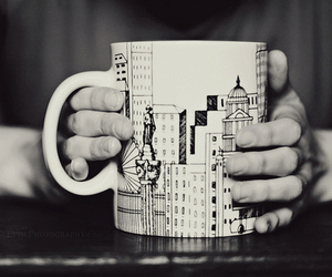 cup, city, and b&w image