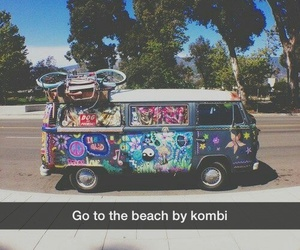 beach, color, and kombi image