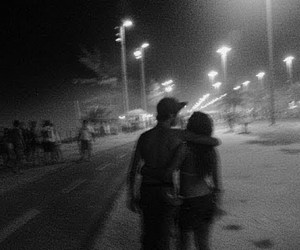 beach, black and white, and couple image