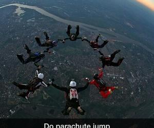 air, jump, and parachute image