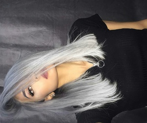 black t-shirt, light brown eyes, and silver hair image