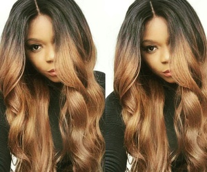 black turtleneck, light brown ombre hair, and long curled brown hair image