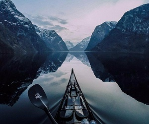 mountains, boat, and lake image