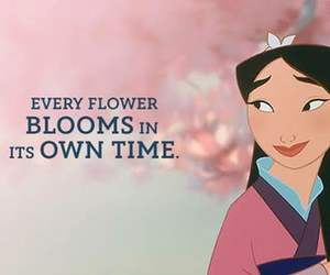 mulan, disney, and flowers image