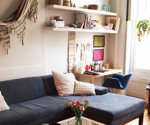 cosy, living room, and shelves image