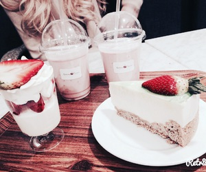 cake, coffee, and smoothie image